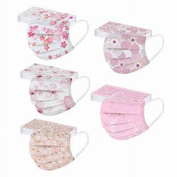 50PCS Spring 3 Ply Disposable Masks with Designs for Adults