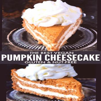 A great addition to any holiday dessert table, creamy Vanilla Swirl Pumpkin Cheesecake on top of a