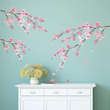 DECOWALL DWL-2003P1903 Watercolor Cherry Blossoms Kids Wall