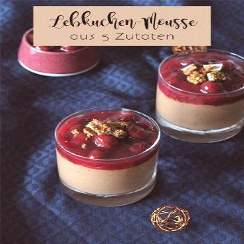 GINGERBREAD MOUSSE WITH MULLED WINE CHERRIES Simple gingerbread mousse with only 5 ingredients! In