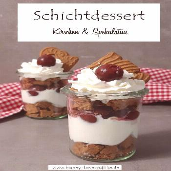 Layer dessert with cherries and speculoos with only 4 ingredients