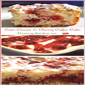 Sour Cream & Cherry Coffee Cake by Mommy's Kitchen!! This cherry swirl coffee cake is a sweet addit