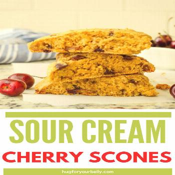 Sour Cream Cherry Scones - Hug For Your Belly The sweetness of dark cherries combine with the sourn
