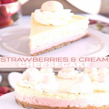 Strawberries and Cream Cheesecake - This cheesecake is packed full of flavor! There's a cookie crus