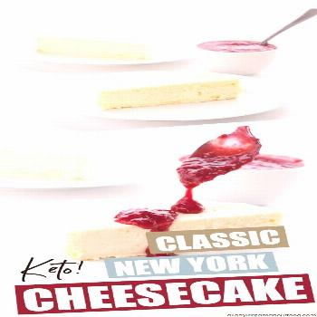 This rich and creamy New York Style keto cheesecake is heaven on a plate. Top with sugar-free berry