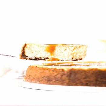 This salted caramel cheesecake is seriously the best cheesecake recipe ever. It's silky smooth, ext